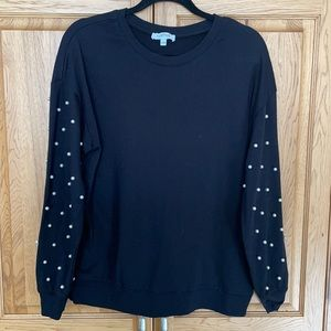 Black Crew Neck Sweater with Pearl Details